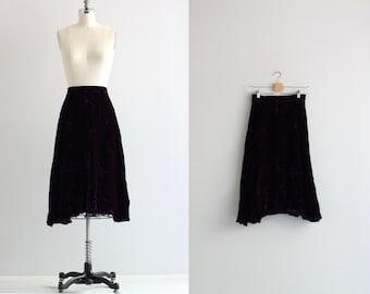 Purple Crushed Velvet Skirt . A Line Midi Skirt . 90s 1990s