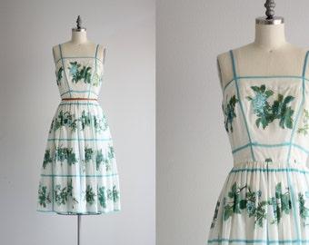 50s Dress . Garden Party Dress . Blue Floral Dress . 50s Picnic Dress . 1950s Dress