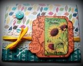 Happy Fall, Handmade Autumn greeting card, Sunflowers card, Autumn leaves card, Fall colors, Happy Fall Yall
