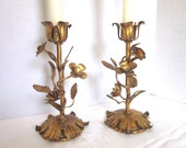 Italian Tole Gold Candlesticks Hollywood Regency Candleholders 1960s Set of 2