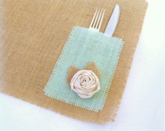 Burlap Placemats, Mint Green Burlap Pockets with Rosettes