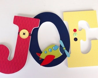 Airplane Nursery - Aviator Bedroom for Boys or Girls - Wooden Letter Set - Baby Shower Gift - Wood Letters - Wall Letters
