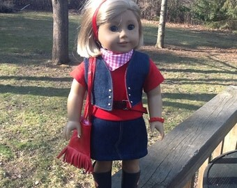18 Inch Doll Clothes Cowgirl Complete Outfit including Skirt, Shirt, Scarf, Belt, Purse , Vest and Boots