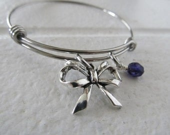 Bow Charm Bracelet- Adjustable Bangle Bracelet with Bow Charm, and accent bead in your choice of colors
