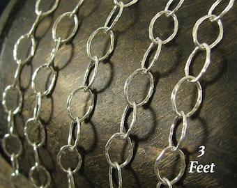 Sterling Silver Cable Chain - Smooth - Large Oval Hammered Links - 8.5mm  3FT - CH45