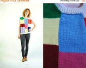 ON SALE 50% 70s Vintage Cozy COLORBLOCK Knitted Vest (Medium)
