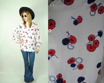 CLEARENCE 80% OFF Vintage 70's FOLK Mandarin Collar  Floral  Blouse (M)