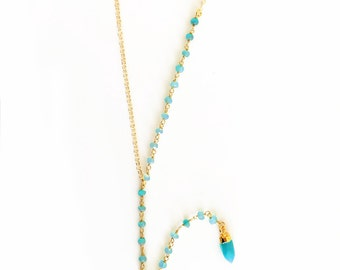 Gemstone Lariat Necklace - Turquoise