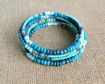beaded bracelet, teal, color, memory wire, gift for her, beach jewelry, boho
