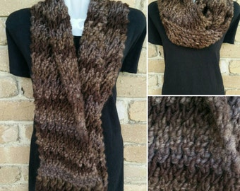 Brown infinity scarf READY TO SHIP, cowl, snood, chunky knit handmade, double loop, women's fashion winter scarf