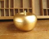 Mid Century Gold Apple Trinket Container Japanese Lacquerware Jewelry Storage Trinket Box