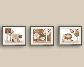 Neutral nursery art, Sweet lambie art prints, little lamb jojo, gender neutral nursery, sweet dreams kids nursery prints