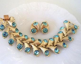Coro Pegasus Wide Topaz Blue Rhinestone Bracelet Earrings Set Signed