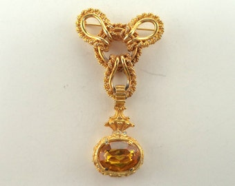 Vintage Signed Hattie Carnegie Brooch Rhinestones Goldtone 2 Part Setting