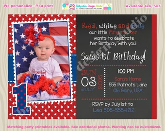 4th of july birthday invitation Invite july 4th birthday invitation invite 1st birthday girl little firecracker photo picture chalkboard