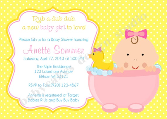 Rubber Ducky Baby Shower Invitation Baby Girl Rubber Duckie Baby Sprinkle girl baby shower invitation pink yellow printable DIY digital