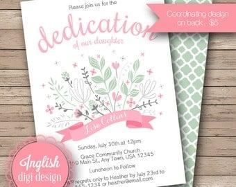 Floral Dedication Invitation, Floral Baptism Invite, Dedication Flowers Invite, Banner, Laurel - Floral Swag in Pink & Pistachio