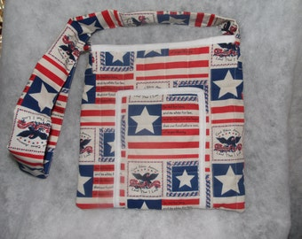 Red, White and Blue Shoulder Purse