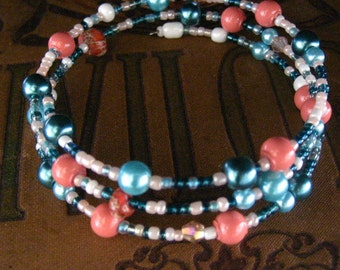 Coral and Turquoise Pearl Beaded Wire Bracelet Multi Strand Wrapped Bracelet