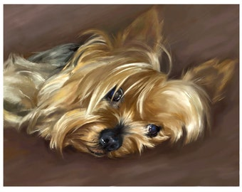 avald Yorkshire Terrier 04 Art Print on Watercolor Paper