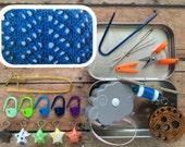 Blue Lattice Knitter's Tool Tin - handmade box with travel knitting notions!