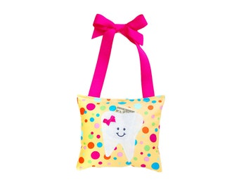 Tooth Fairy Pillow Girls Tooth Fairy Gift Personalized Tooth Fairy Pillow Personalized Kids Tooth Fairy Pouch in Yellow and Pink Polka Dot