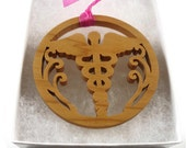 Caduceus Medical Symbol Christmas Ornament Handmade From Cherry Wood By KevsKrafts