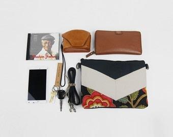 Dark navy blossom, Cross bag / Handbag / Shoulder bag, Design by BagyBags