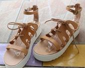 Half price! 7.5/8.5 Leather sandals/Leather platforms/wedges Sandales compensées, cuir