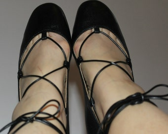 SALE! Leather ballet flats in black leather!
