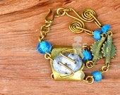 African Blue Bracelet,Blue Brass Bracelet,Dainty Beaded Bracelet.