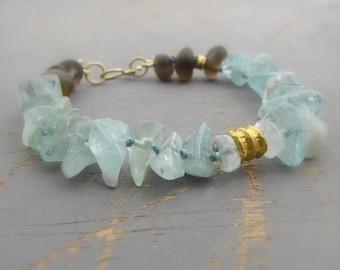 Gold Bracelet - Aquamarine, Smoky Topaz & Solid Gold Bracelet - 24k Gold Jewelry - Free Shipping