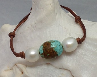 White Pearl & No. 8 Mine Turquoise LEATHER bracelet