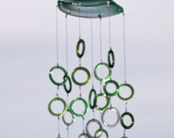 jellyfish windchime mobile with recycled green and clear glass rings from wine bottles