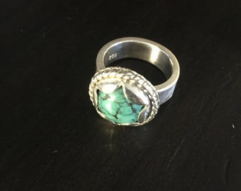 TURQUOISE PETAL RING - Sterling Silver