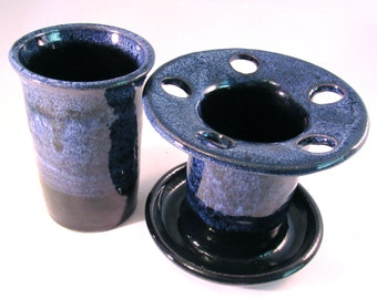 Toothbrush Holder - Tumbler - Handmade Pottery - Blue Toothbrush Holder - Bathroom Set - Dark Cobalt Blue & Frosted Blue - Pottersong