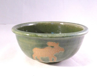 Small Serving Bowl Moose - Wild Animal Silhouette - Brown Moose - Handmade Pottery Art - Glazed in Bright Green
