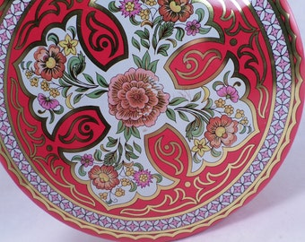 70's Cookie, Sewing Tin Daher Orange Peony Floral Red Gold Vintage