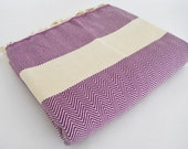 SALE 50 OFF/ Herringbone Blanket / Purple / Bedcover, Beach blanket, Sofa throw, Traditional, Tablecloth