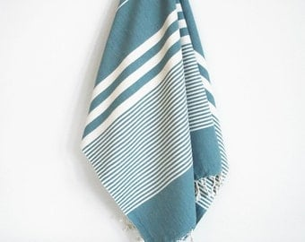 SALE 50 OFF / Turkish Beach Bath Towel / Classic Peshtemal / Dark Turquoise / Wedding Gift, Spa, Swim, Pool Towels and Pareo