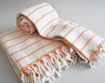 SET Turkish BATH Towel Peshtemal and Head-Hand Towel Peshkir - Very Soft Bamboo (Orange striped) Beach, Spa, Swim, Pool Towels and Pareo