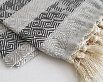 SALE 50 OFF/ BathStyle / Gray-Black / Diamond Style Turkish Beach Bath Towel Peshtemal