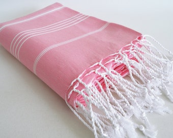 SALE 50 OFF/ Classic Blanket / Light Pink / Double Size/ Beach blanket, Picnic blanket, Sofa throw, Tablecloth, Bedcover