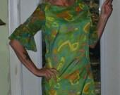 Chiffon Shift Dress,Mod, 60's, bombshell , Cat Cay of Miami, Resort Clothing