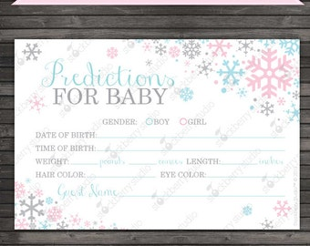 Winter Baby Shower Baby Prediction Card - Printable Pink Blue Gray Winter Wonderland Baby Shower Games - Instant Download - Baby Predictions