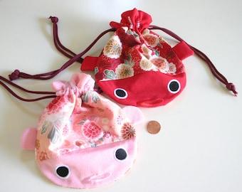 MINI PINK Koi and Kiku - Kimono Accessory Drawstring Pouch