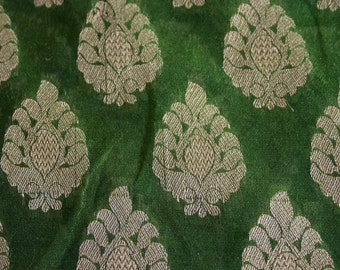 Olive Green Paisleys - 1 yard of Cotton Silk Brocade Fabric in Olive with gold