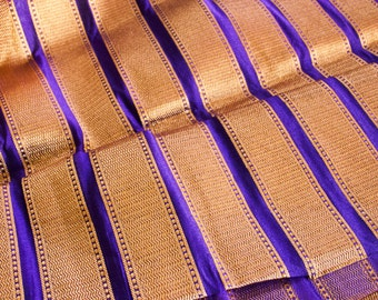 Luscious Purple & Gold - 1 yard of Silk Brocade Fabric in purple and gold stripes