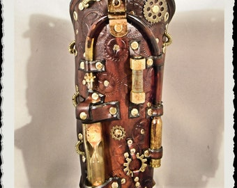 Steampunk leather bracer - Chronos  -