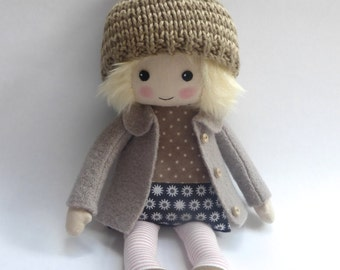 heirloom rag doll, cloth doll, blonde haired doll, fall doll, doll in woolly hat, room decor